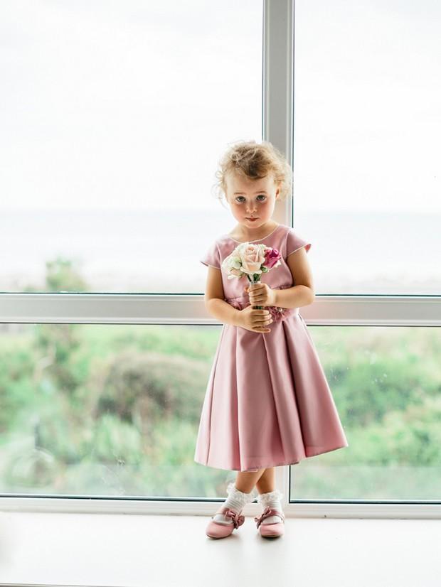 dusty pink flower girl dress
