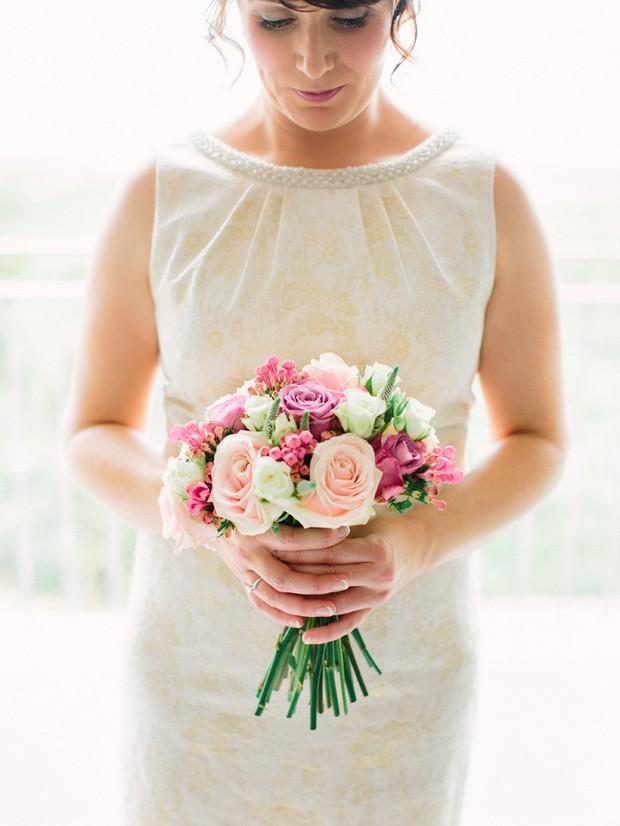 gold pink peach wedding bouquet