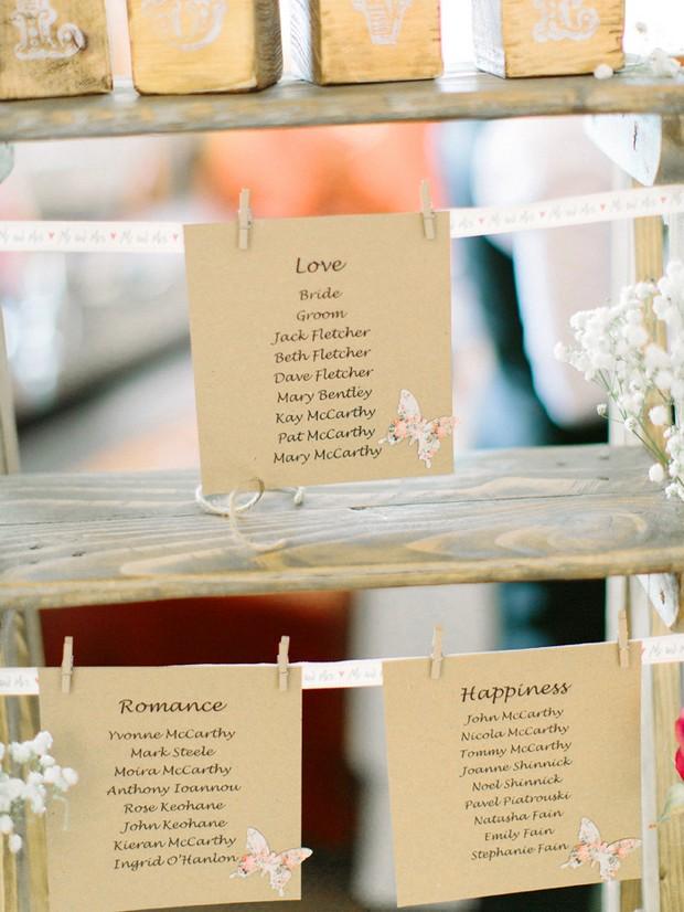 romantic rusic table plan kraft paper