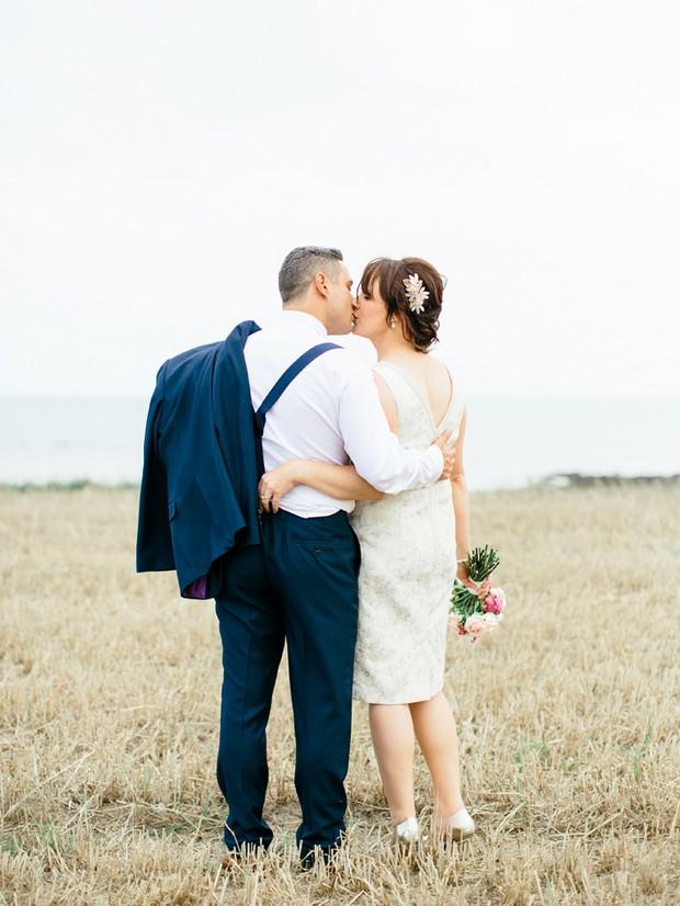rustic wheat field wedding photo
