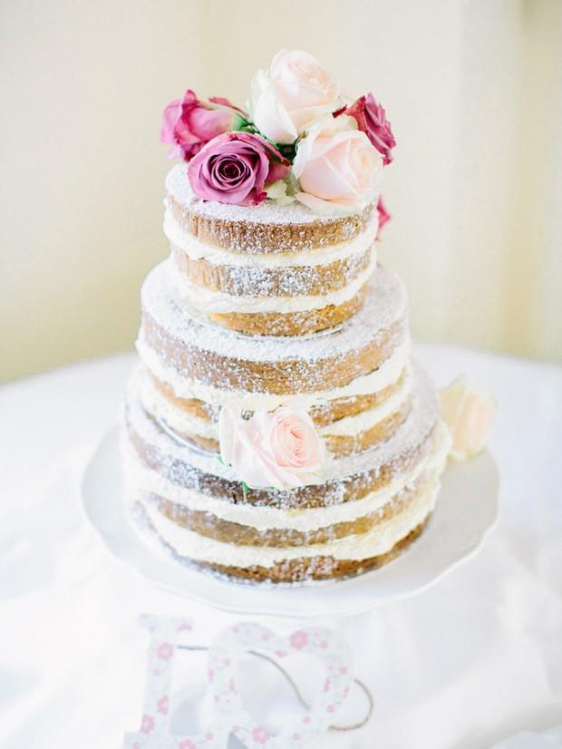 rustic exposed wedding cake pink cream