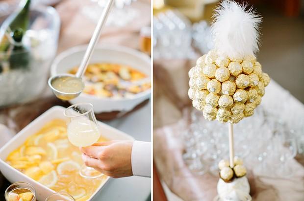 gatsby style wedding gold ferrero rocher tree