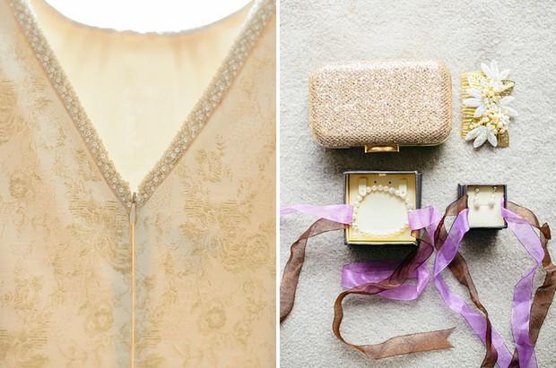 purple gold wedding details palette