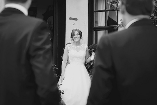 bride first look black and white