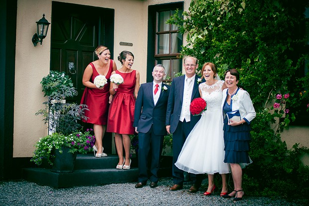 bridesmaids red tea length dresses
