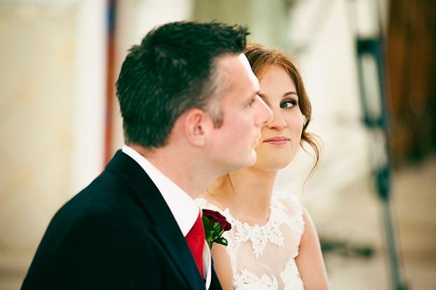 wedding ceremony couple glance