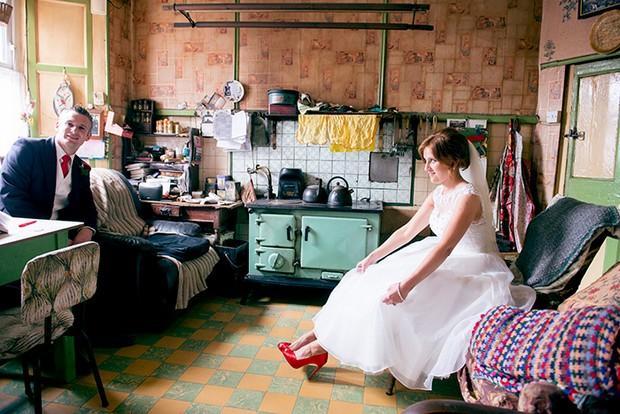 alternative wedding retro kitchen bride groom