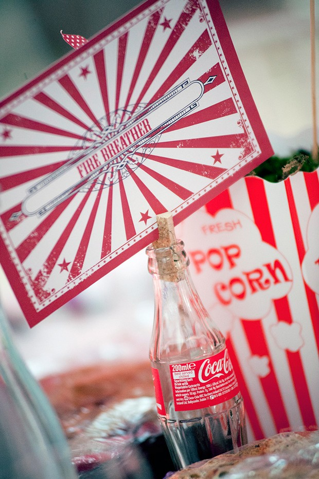 red vintage circus wedding theme