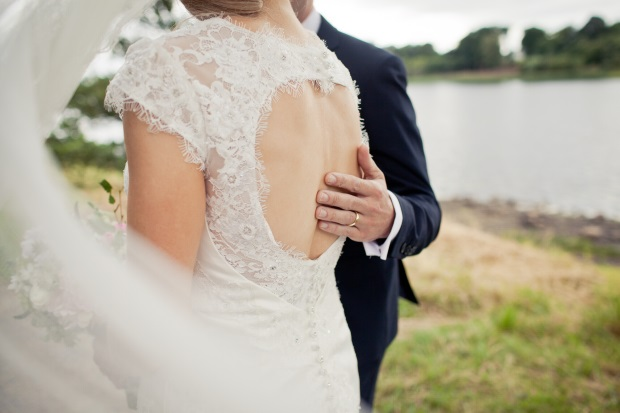 Lace Keyhole Back Wedding Dress Real Bride - Lough Rynn Wedding on weddingsonline.ie