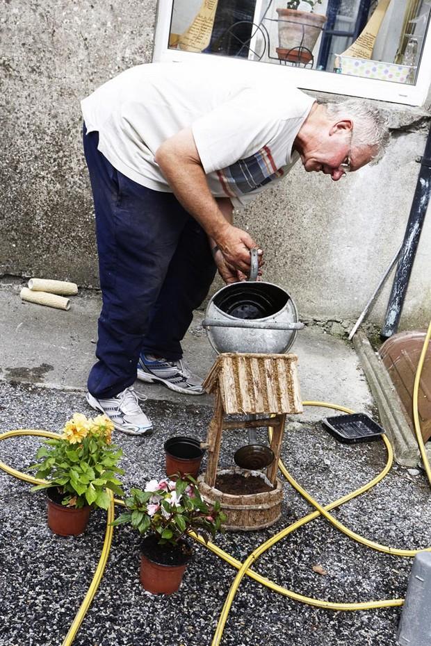 man watering flowers in back garden