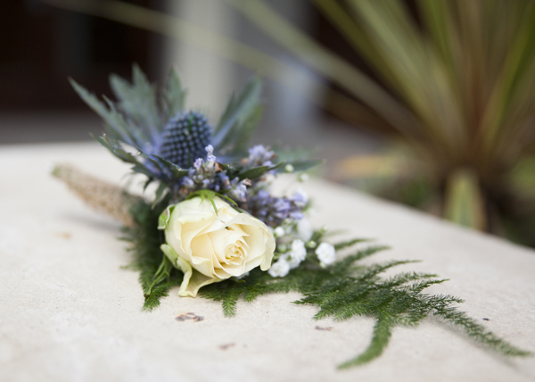 cream lilac boutonnaire
