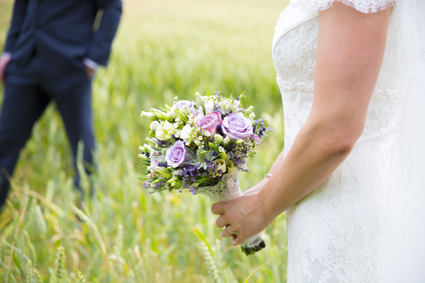 rustic purple lilac lavender wedding bouquet