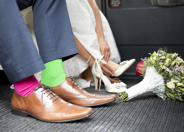groom colourful pink green socks