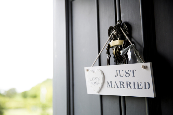 just married wedding sign door