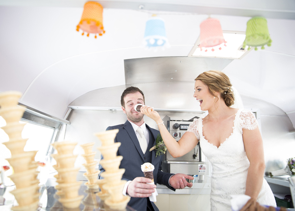 bride groom fun ice cream van photo