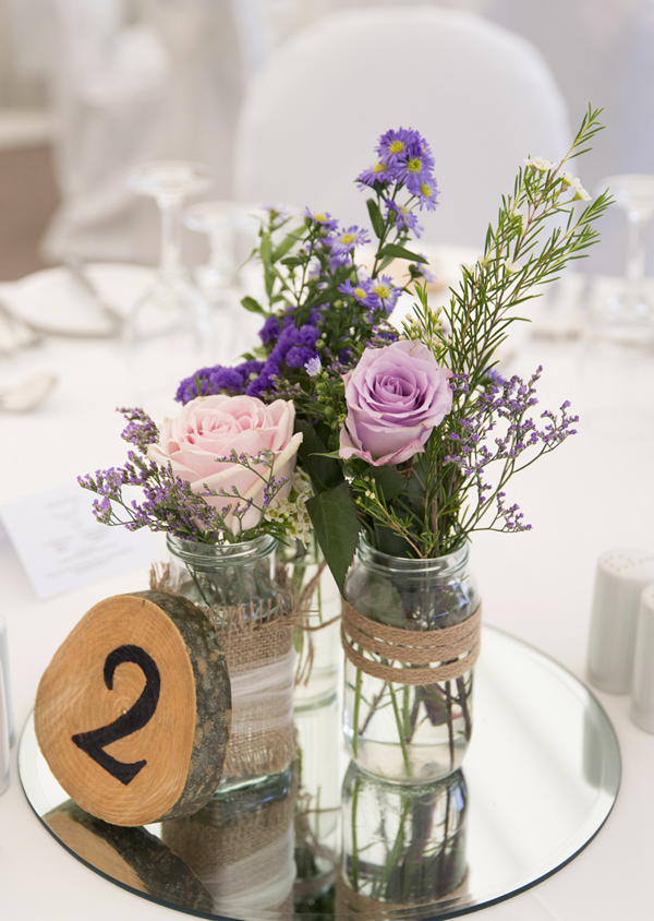 rustic purple lilac table centerpiece wood carved number