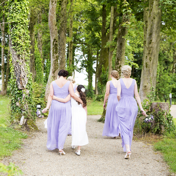 lilac bridesmaids outdoor wedding