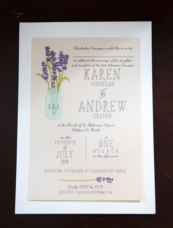 lilac hand painted wedding invitation