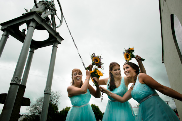 aileen-barry-wedding-mint-bridesmaid-dresses-sunflower-bouquets