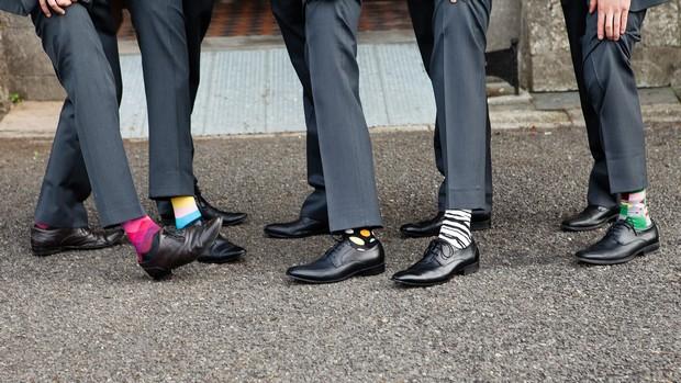 colourful socks groomsmen