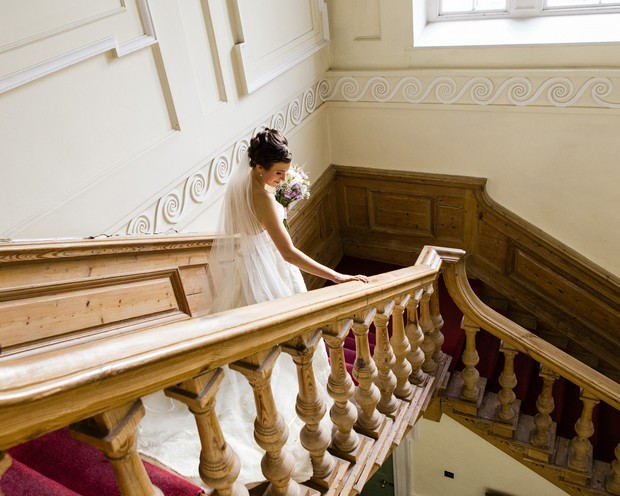 bride on bellinter house wooden staircase