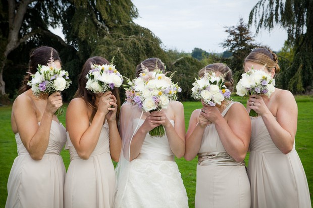 fun bridesmaids photos bouquets