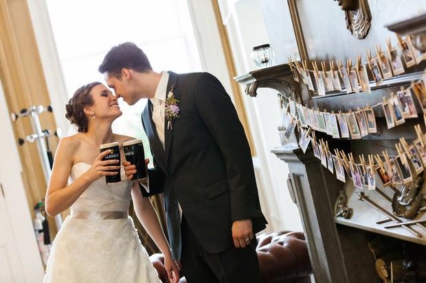 irish wedding bride groom drinking guinness