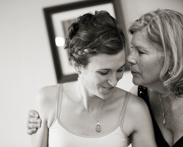 bride and mother morning of wedding