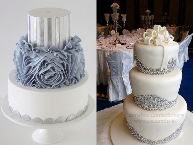 silver winter wedding cakes