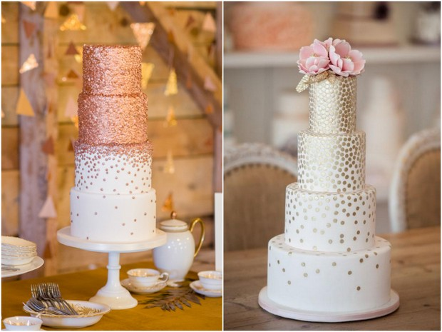 cascading waterfall confetti metallic wedding cake