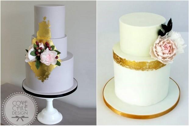 gold leaf embellished modern wedding cake  trends 2015