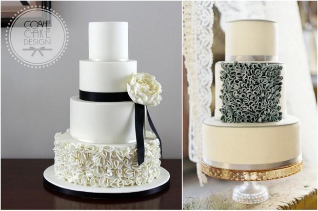 ruffle icing wedding cakes
