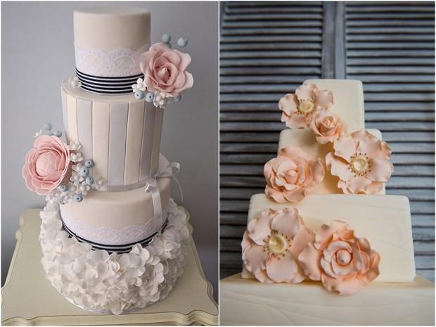 oversized sugar flower wedding cakes