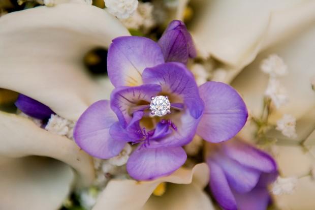 purple flower bouquet engagement ring