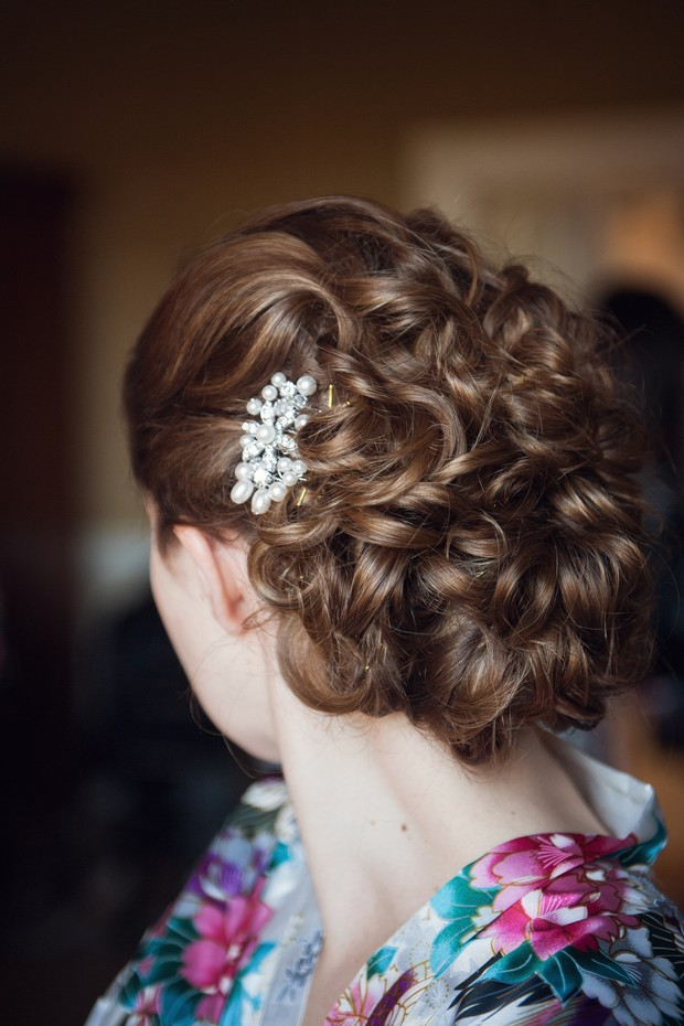 romantic curl wedding bridal up do hair style