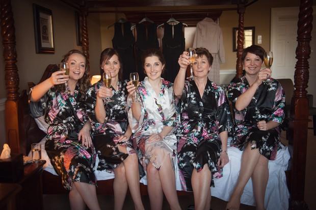 bride bridesmaids silk floral robes