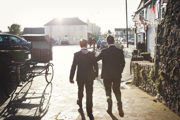 groom best man walking to church ireland