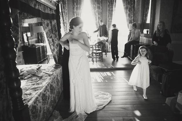 black and white flower girl bride portrait