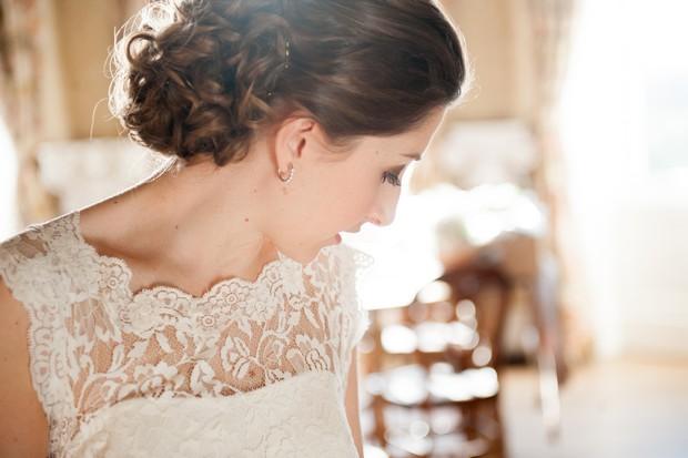 bride romantic lace neckline wedding dress