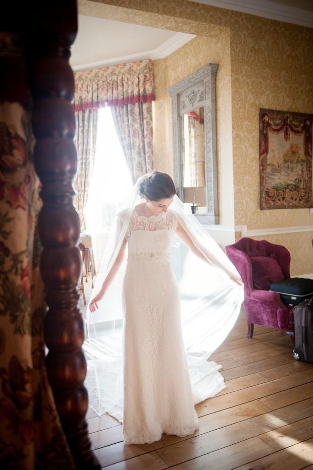 bride in chapel length veil