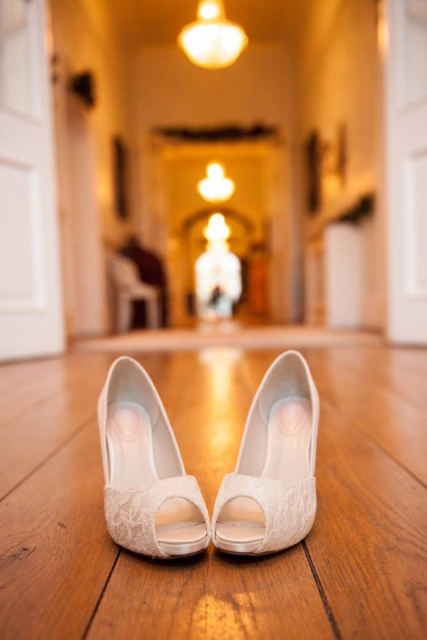 lace peep toe wedding shoes