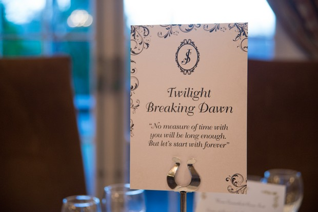twilight theme wedding table names movies