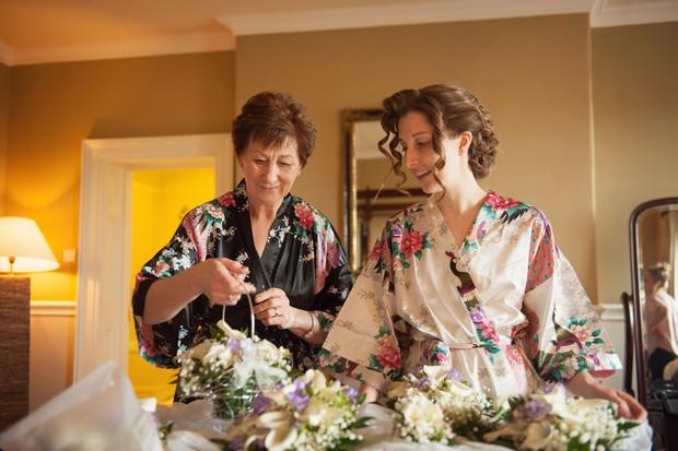 bride mother floral silk robes