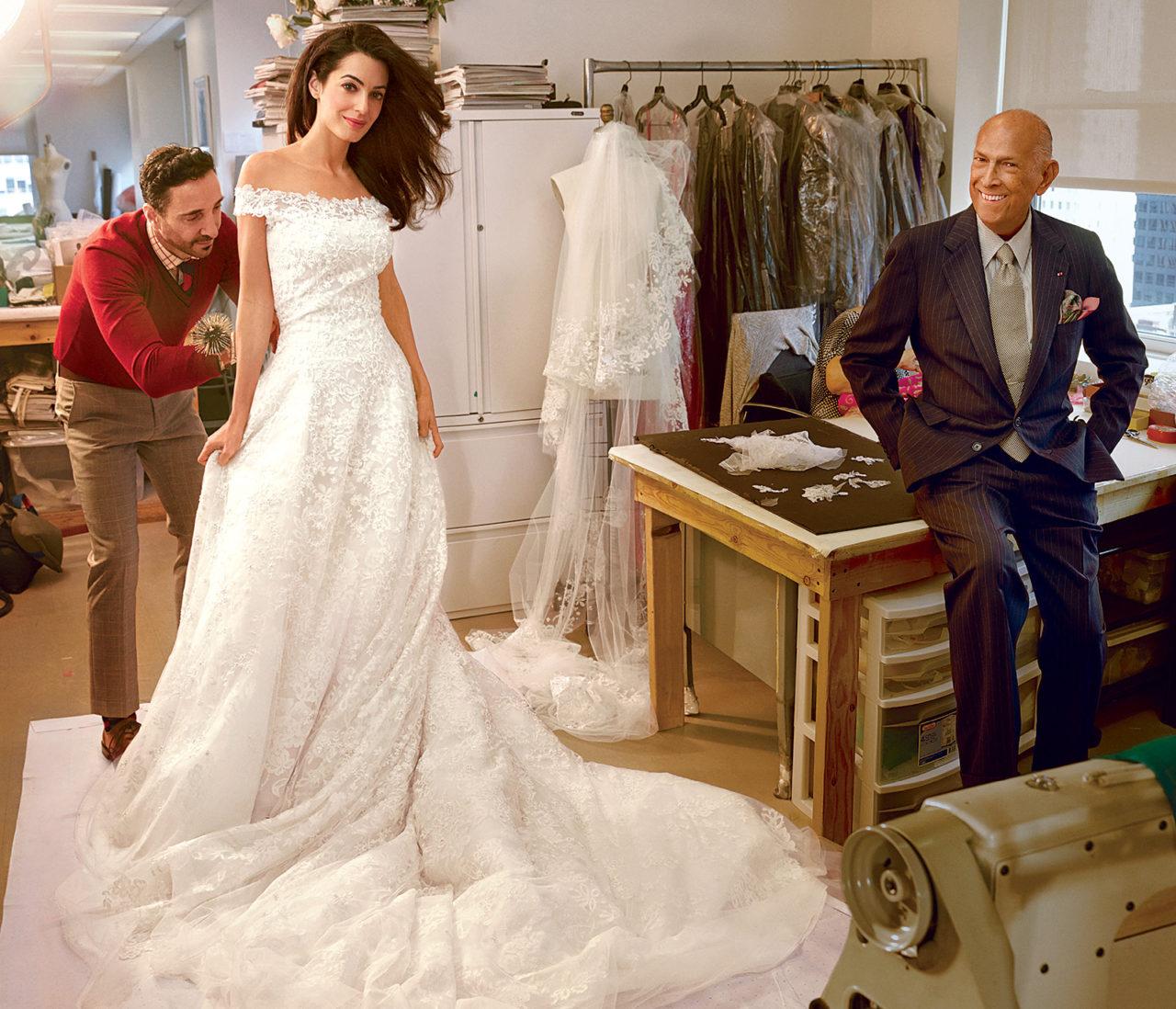 8 most stylish celebrity wedding dresses from 2014 weddingsonline amalalamuddinoscardelarentaweddingdress junglespirit Images