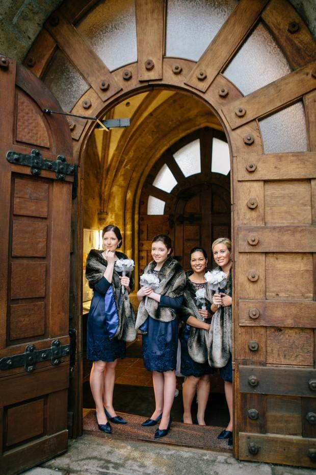 winter bridesmaids navy dresses