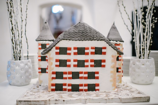 winter castle themed wedding cake