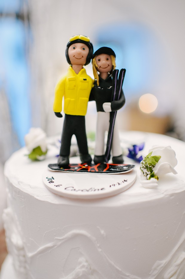 skiing themed wedding cake topper