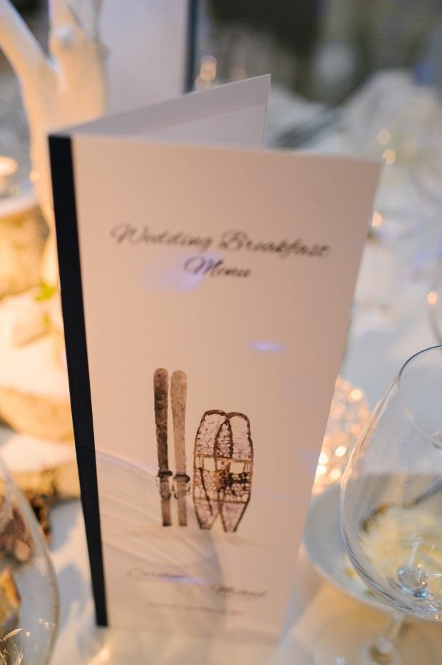 skiing themed wedding menu stationery