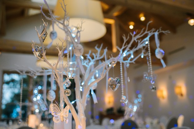 white crystal winter wedding table decor