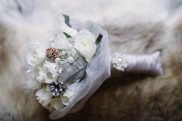 silver white winter wedding bouquet